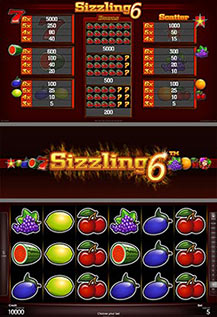 Sizzling 6 - game screens