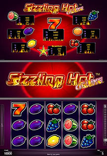 Sizzling Hot - game screens
