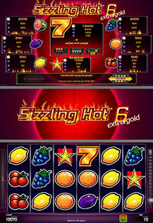 Sizzling Hot 6 extra gold - game screens
