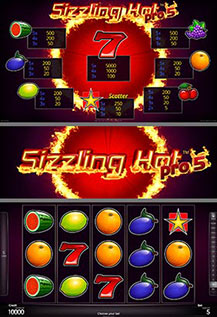 Sizzling Hot pro5 - game screens